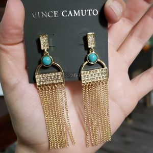 Vince camuto turquoise fringe accent earrings